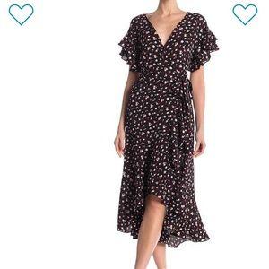 Max Studio Ruffle high/low Wrap Dress